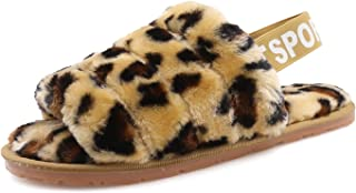 Women's House Fuzzy Slipper Fluffy Sandals Leopard Print Soft Warm Comfy Open Toe Cozy Bedroom House Indoor Outdoor Slippers Sandals with Elastic Strap
