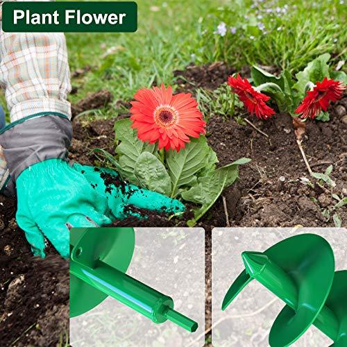 BLIKA 2 Pcs Auger Drill Bit Set, Garden Plant Flower Bulb Auger 4