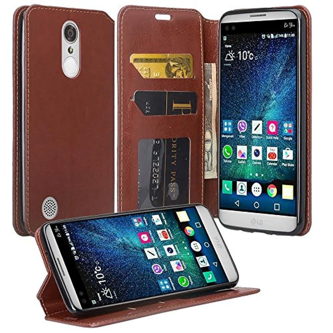 LG K10 2018/K30/Premier Pro LTE/Harmony 2/Phoenix Plus/L413/L413DL Case, [GW USA] Flip Folio [Kickstand] Pu Leather Wallet Case [ID&Credit Card Slot] Phone Case Cover - Brown