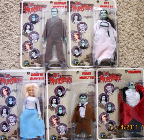"The Munsters Classic TV Complete Set 5 Dolls 8"": Lily Munster, Herman, Grandpa, Marilyn & Eddie Munster Dolls (2004)"