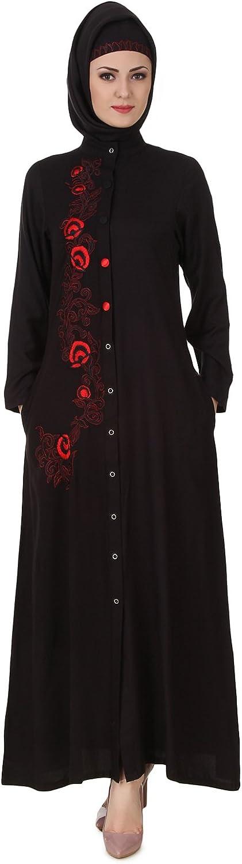 MyBatua Shaistah Rayon Black Muslim Long Abaya AY-44 Max 71% OFF Direct sale of manufacturer Traditional