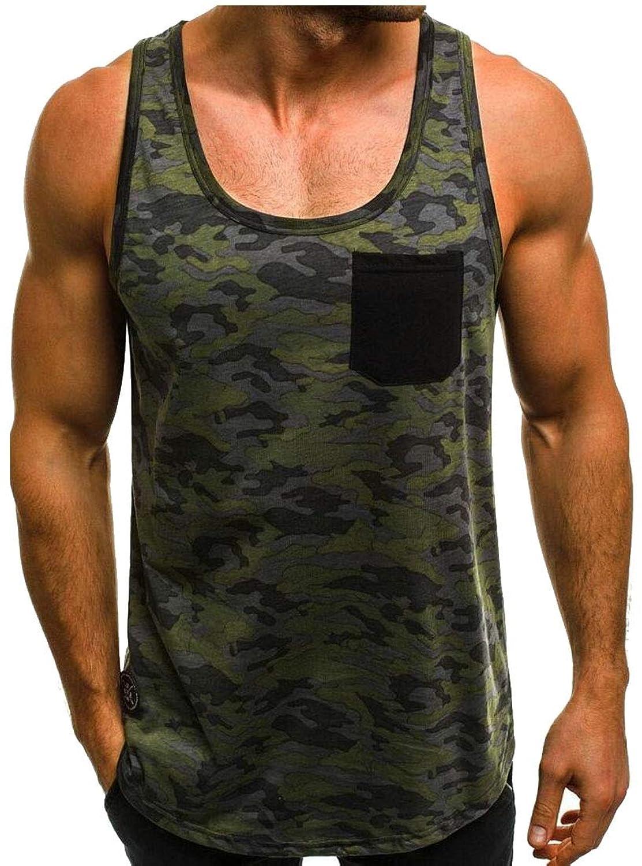 Keaac メンズカモタンクトップス圧縮ノースリーブシャツ筋肉快適トップ
