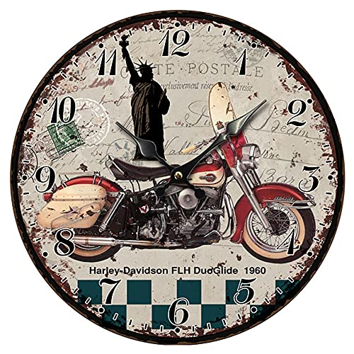 Reloj de pared de madera redondo de 12 pulgadas, diseño de esfera antigua, impresión única de motocicleta, bar, dormitorio, club, decoración de pared, reloj de pared silencioso que no hace tictac,002