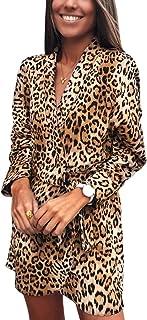 7bc8af508d Vamvie Leopard Print Dresses for Women - Long Sleeve Knee Length Animal  Print Tunic Mini Dress