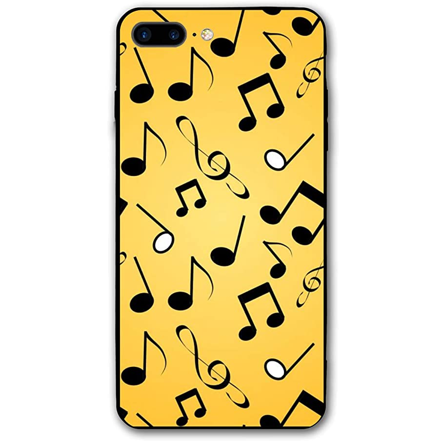 Adetad 5.5Inch iPhone 8 Plus Case Musical Notes Yellow Anti-Scratch Shock Proof Hard PC Protective Case Cover