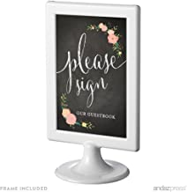 Andaz Press Framed Wedding Party Signs, Chalkboard Floral Roses Print, 4x6-inch, Please Sign our Guestbook, 1-Pack, Includes Frame
