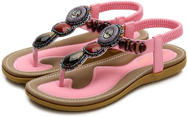 WENNEW Summer Bohemian Open Toe Sandals Beads Monotone Toe Enceinte Size Sandals