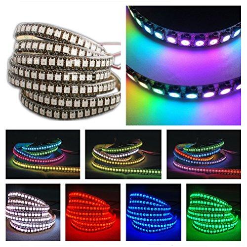 Preisvergleich Produktbild GreenICE 1M WS2812B 2811 IC LED-Streifen 144 LED 5050 SMD RGB farben Adressierbarer 5V IP33 Nicht Wasserdicht (Schwarz PCB Board)