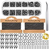 Jewelry Making Chains 49.2 Feet Stainless Steel Link Chains 1000 Pieces Jump Rings 40 Pieces Lobster Clasps with Curved Tweezers and Brass Jump Ring Opener for Women Men DIY Jewelry (Black)