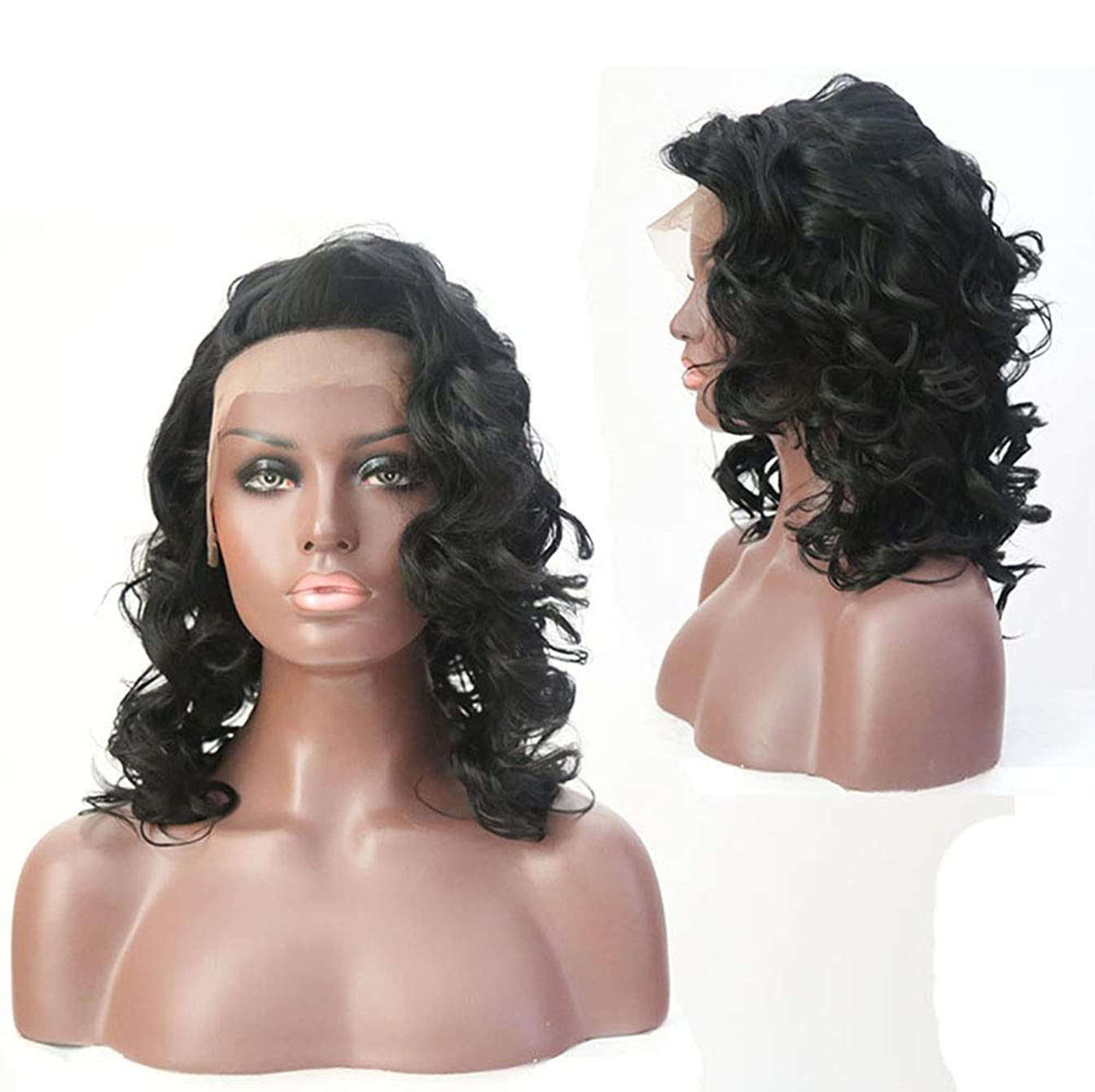 ラボ土曜日遅い女性のためのフロントレースショートカーリー変態かつらウィッグ人工毛髪耐熱かつら黒