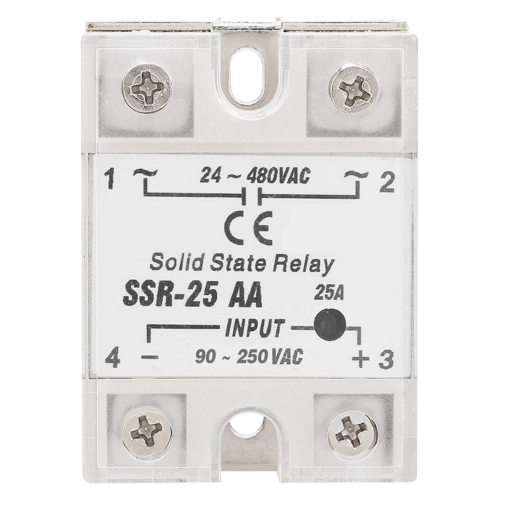 Relé de estado sólido SSR-25 AA 25A Módulo de relé de estado sólido SSR Entrada AC-AC Salida 90-250V AC 24-480V AC