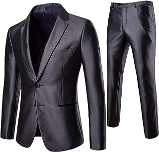 AOWOFS Men's Slim Fit Suit 2 Piece Tuxedo Suits Classic Business Wedding Blazer Trousers