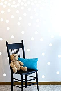 The Open Canvas Wall Decal Dots (200 Decals) | Easy to Peel Easy to Stick + Safe on Painted Walls | Removable Vinyl Polka Dot Decor | Round Sticker Large Paper Sheet Set for Nursery Room (White)