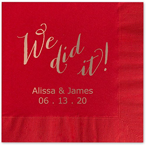 We Did It Personalized Luncheon Dinner Napkins - Canopy Street - 100 Custom Printed Red Paper Napkins with choice of foil stamp (5856L)