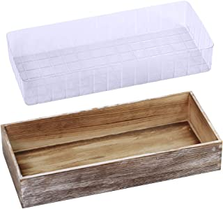 1 Pcs Wood Planter Box Rectangle Whitewashed Wooden Rectangular Planter Decorative Rustic Wooden Box with Inner Plastic Box - 17.3
