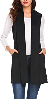 Womens Long Vests Sleeveless Draped Lightweight Open Front Cardigan Layering Vest with Side Pockets (S-XXL)