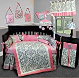 SISI Baby Bedding - Grey Damask 14 PCS Crib Bedding Set incl. Lamp Shade