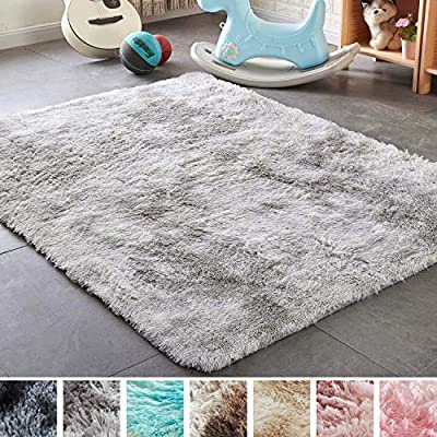 PAGISOFE Moderns Abstract Area Rugs Mats Decor Colors Rug for Bedroom Living Room Nursery Floor Fluffy Shag Rug Plush Fuzzy Shaggy Rugs ?Gray and White?, Multi Colored Accent Fur Rug Carpet (4' x 6')