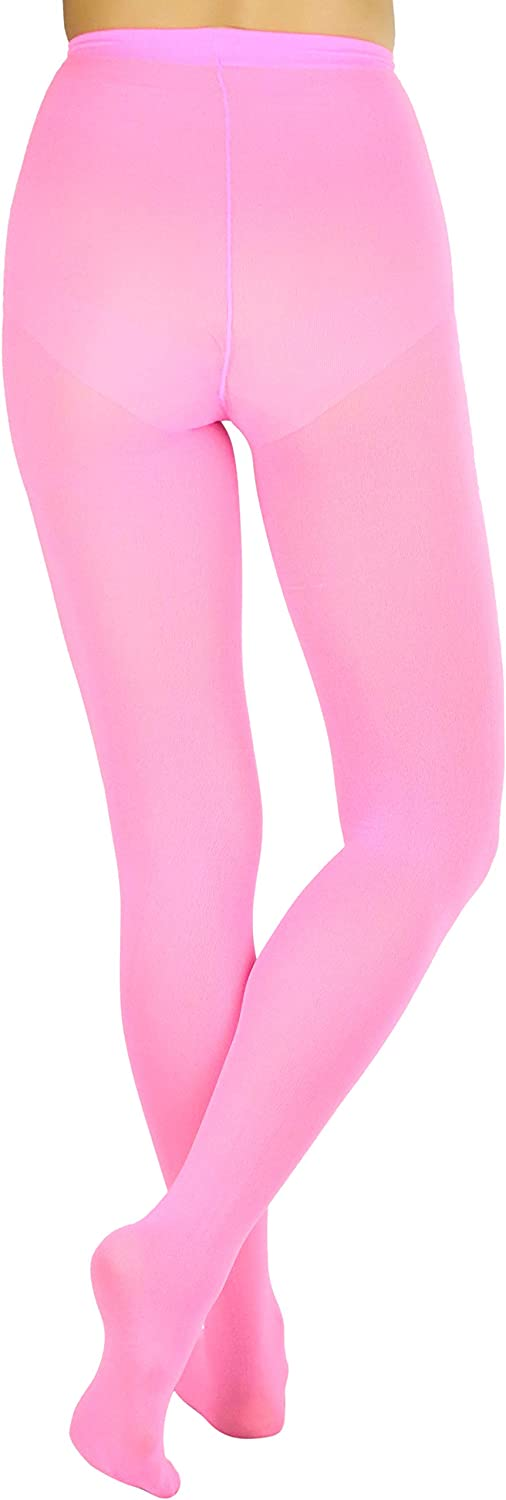 ToBeInStyle Women's Solid Full Footed Vibrant Color Opaque Fashion Tights Hosiery