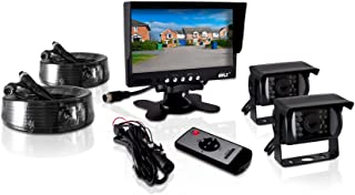Pyle PLCMTR72 Weatherproof Rearview Backup Camera and Monitor Video System for Bus, Truck, Trailer and Van (2 Cams, 7'' Mo...