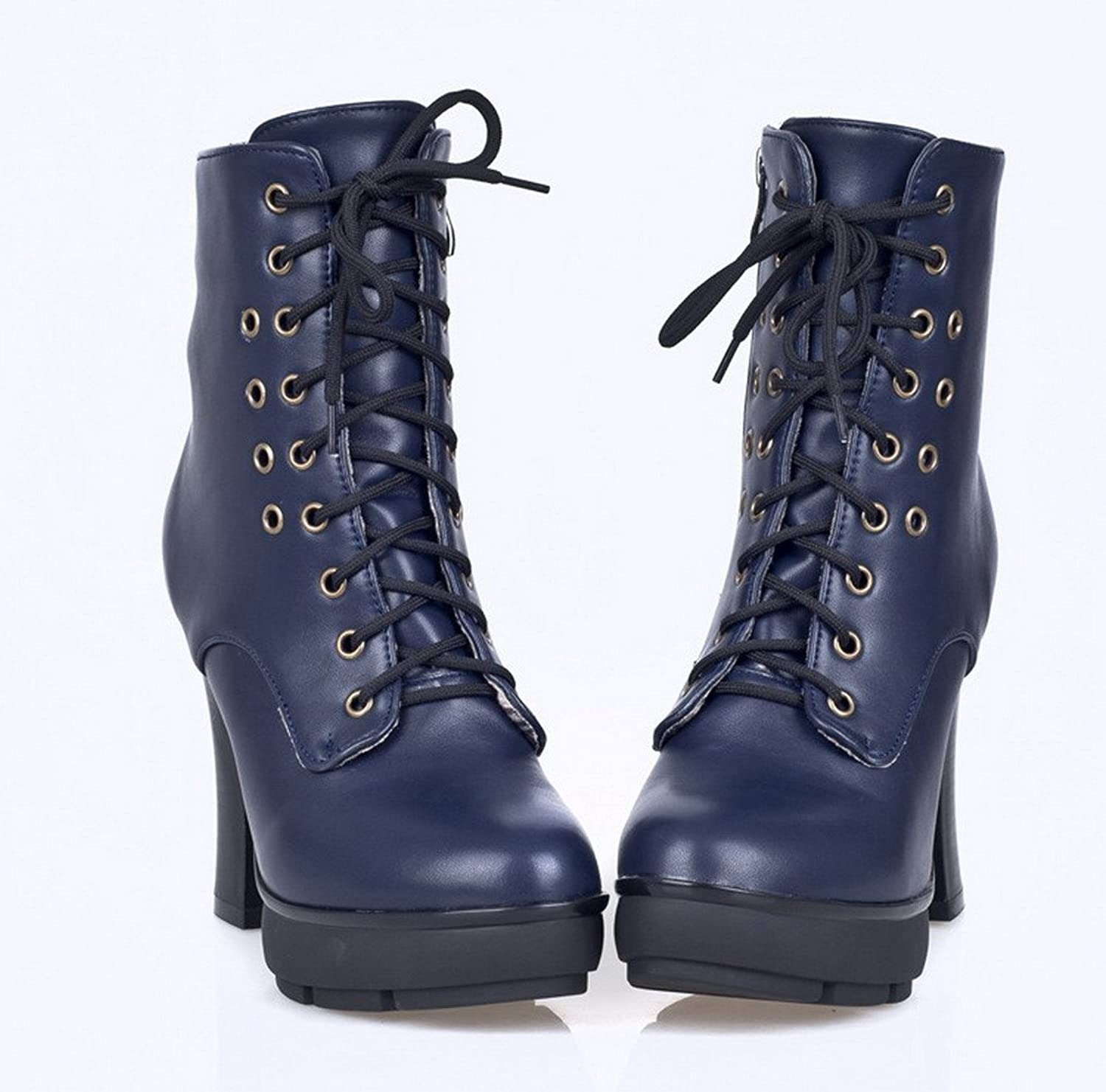 WeenFashion Women's PU Cotton Lining High Chunky Heels colorant Match Ankle Boots with Lace-up and Zipper