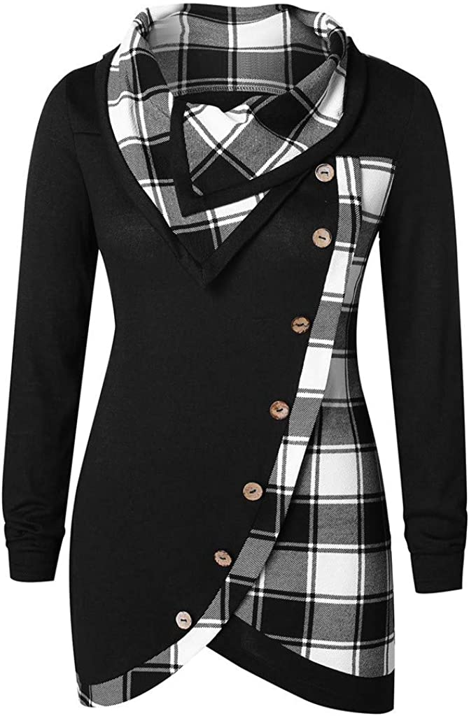 Womens Long Sleeve Tops,Women Turn-Down Collar Button Plaid Patchwork Sweatshirts Blouse Crop Jumper Pullovers