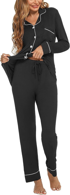Mathea Womens Pajamas Set Long Sleeve Sleepwear Button Down Nightwear Soft Lounge Sets