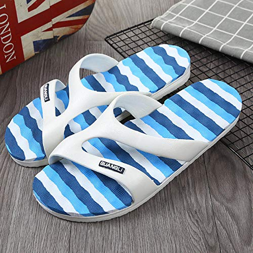 TDYSDYN Fitness Sandals,Rainbow four seasons sandals and slippers, soft sole indoor and outdoor beach shoes-v6-2 blue_7.5,Men's Flip Flops Mules Lightweight Slippers
