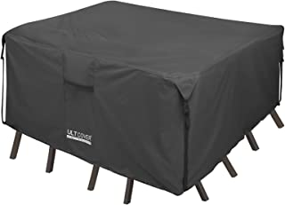 ULTCOVER 600D PVC Durable Square Patio Table with Chair Cover, 100% Waterproof Outdoor Furniture Table Covers 54 inch, Black