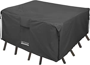 ULT Cover 600D PVC Durable Square,Rectangular Oval Patio Table Chair Cover, 100% Waterproof Outdoor Furniture Covers (Squa...
