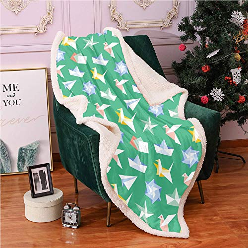 SeptSonne Origami Sherpa Fleece Blanket,Repeating Paper Craft Motifs Folding Papers Hobby in Vivid Tones Pattern Digital Printing Blanket,for Couch Fuzzy Blanket(40x50 Inches,Sea Green Multicolor)