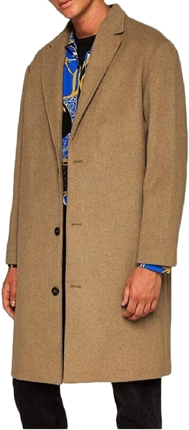 9fe86dbc5cb4 LEISHOP Men's Simple Solid color Overcoat Overcoat Overcoat Mid Long ...