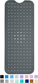 ENKOSI Bath Mat - Large Non Slip Bathtub & Shower Mat - Extra Long 40 x 16 Inch Bathroom Mats for Tub - Machine Washable & Mildew Resistant Nonslip Bathmats (Charcoal)