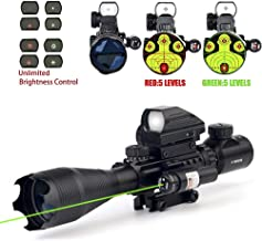 THEA 4-16x50 Tactical Rifle Scope Red/Green Illuminated Range Finder Reticle W/RED(Green) Laser and Holographic Reflex Dot Sight (12 Month Warranty)