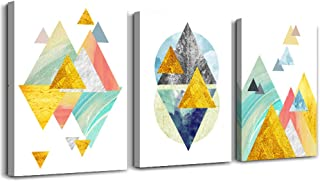 Gold abstract paintings Canvas Prints Wall Art Paintings for Living Room  Abstract Geometry Wall Artworks Pictures Bedroom Decoration, 12x16 inch/piece, 3 Panels Home bathroom Wall decor posters