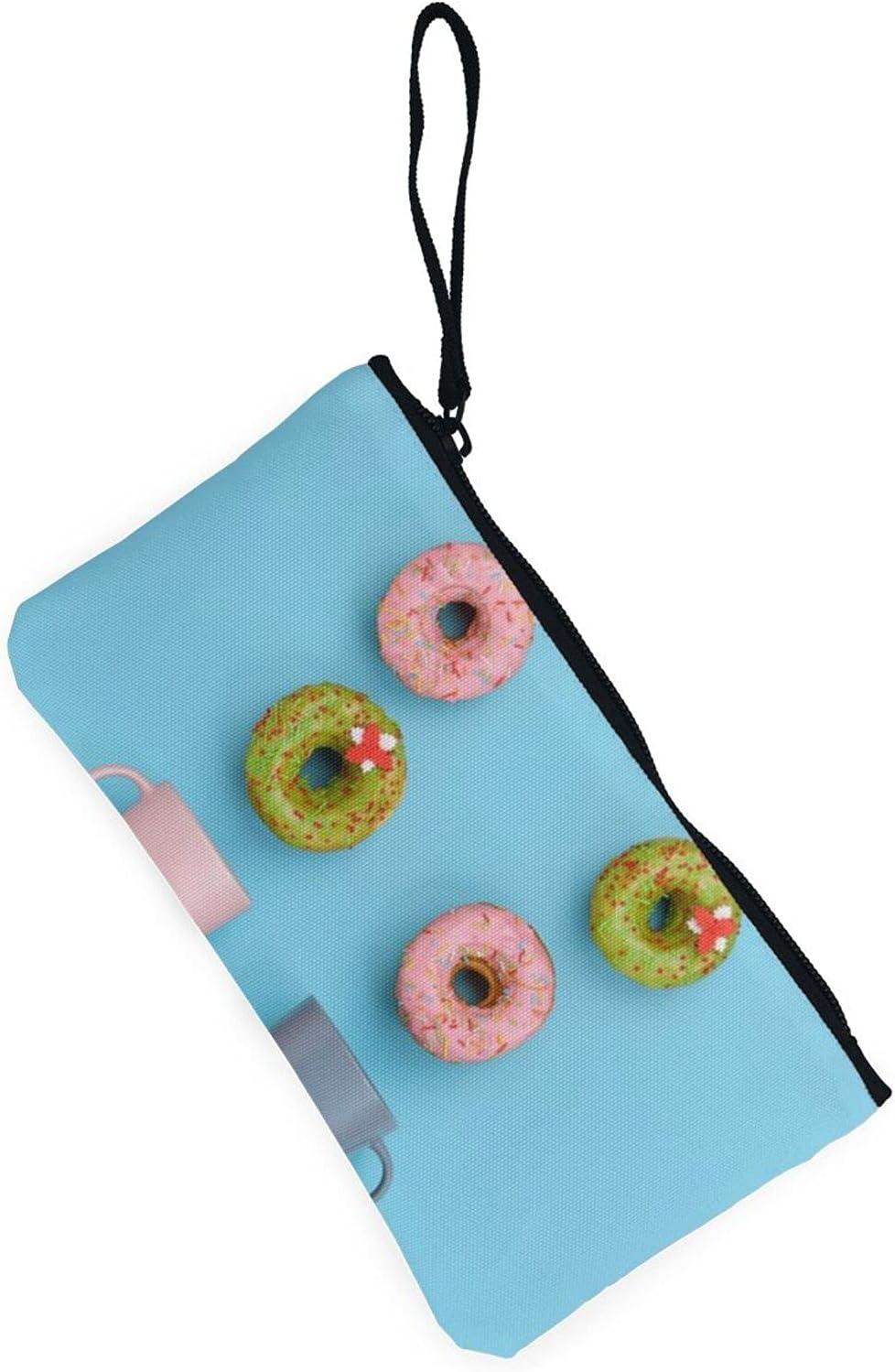 AORRUAM Mugs And Sweet Donuts Canvas Coin Purse,Canvas Zipper Pencil Cases,Canvas Change Purse Pouch Mini Wallet Coin Bag