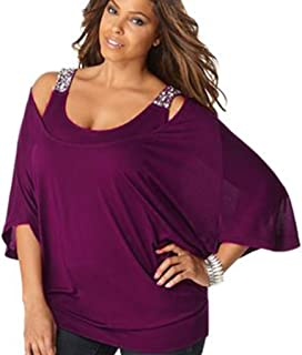 TWIFER Damen 3/4 arm Solid Plus Size Lose Off Shoulder Bling T Shirt Bluse