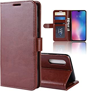 LFPING Case for Xiaomi 9 SE, Durable Crazy Horse Pattern Solid Color Flip PU Leather Wallet Case Cover for Xiaomi Mi 9 SE (Color : Brown)