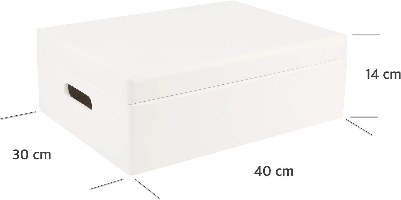 40 x 30 x 14 cm Outils Coffre /à D/écorer Objets Valeur Parfait pour Documents | avec Poign/ées et Couvercle Creative Deco XL Bo/îte en Bois de Rangement Jouet Grande Rouge +//- 1 cm