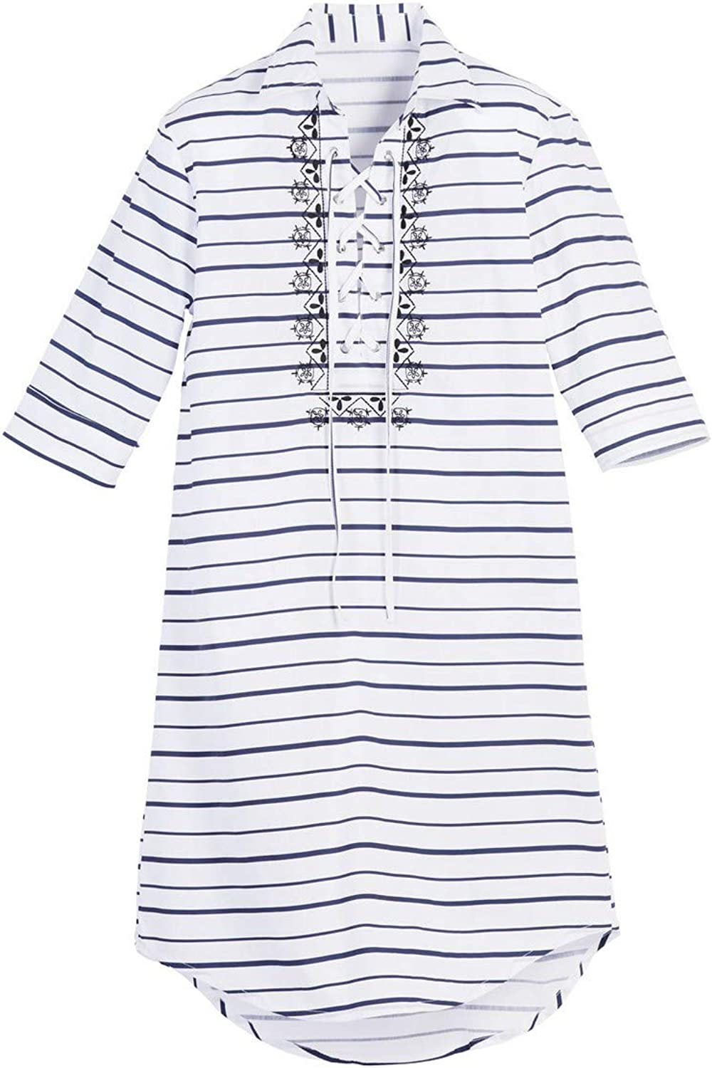 Beachcombers Women Cotton Polyester Striped Caftan Cover Up White Large