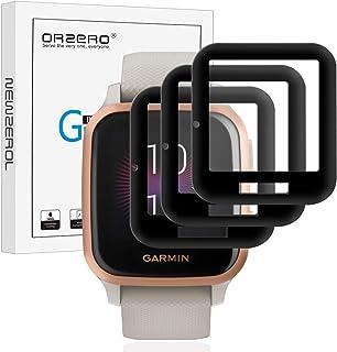NEWZEROL 3 packs compatibel voor Garmin Venu Sq/Garmin Venu Sq Music Screen Protector, [Edge Cover] 3D Carbon Fiber Edge H...