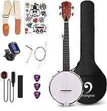 Vangoa 5 String Banjo MINI, Closed Solid Back with beginner Kit, Tuner, Strap, Pick up, Strings, Picks and Bag