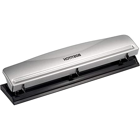 12 Sheet Capacity Metal,Silver Pack 2 Bostitch Office HP12 3 Hole Punch