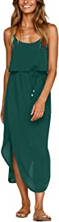 Women's Summer Casual Dress Adjustable Strappy Split Floral Midi Beach Dress
