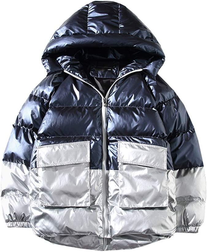 WSSBK New Winter Trench Jacket Men Fashion Patchwork Coat Hooded Jacket Thick Jacket Men Clothing Warm Coat Streetwear (Color : Blue, Size : XXX-Large)