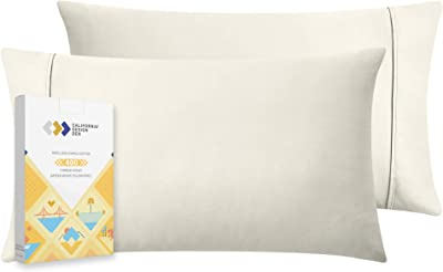 400 Thread Count 100% Cotton Pillow Cases, Ivory Standard Pillowcase Set of 2, Long - Staple Combed Pure Natural Cotton Pillows for Sleeping, Soft & Silky Sateen Weave Bed Pillow Covers