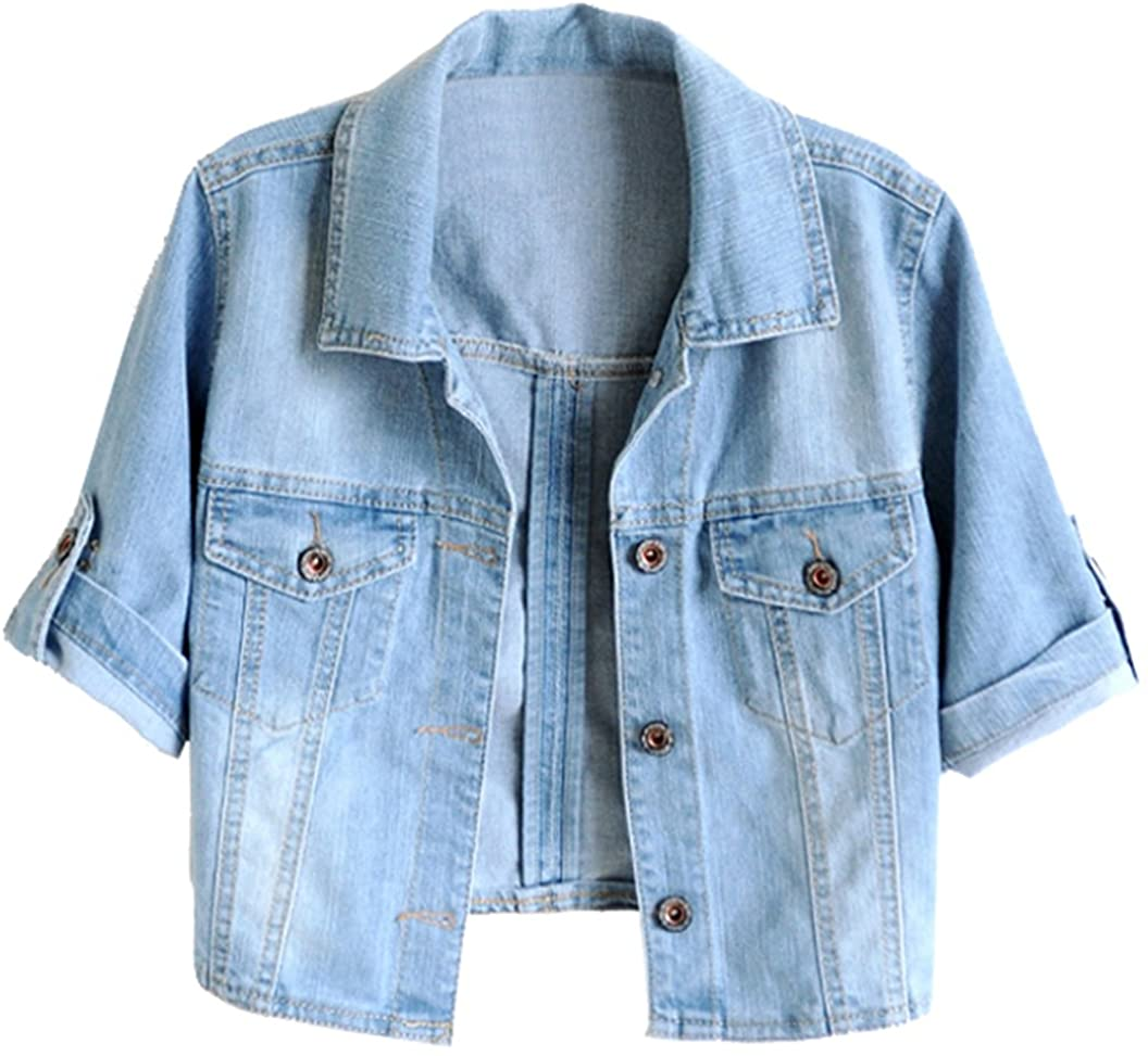 TRENDY XU Women Limited price Ranking TOP3 Summer Short Jacket Sleeve Crop Blue Denim