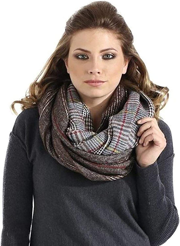 Women's Wide Fall Winter Plaid Pattern Infinity Scarf