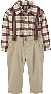 Baby Boys' Long Sleeve Checkered Bodysuit and Suspender Pants Set