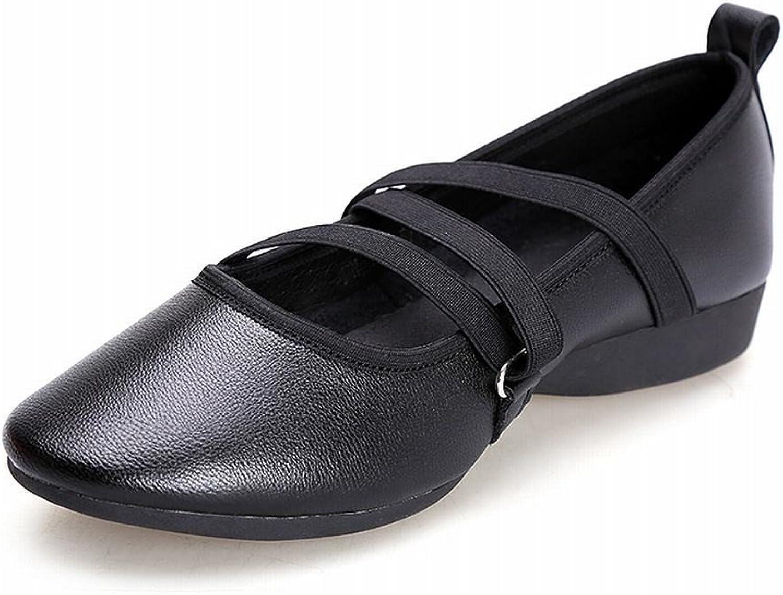 BYLE Leder Sandalen Riemchen Samba Modern Jazz Dance Schuhe Schuhe Flache Schuhe mit Weichen Boden Leinwand Schwarz